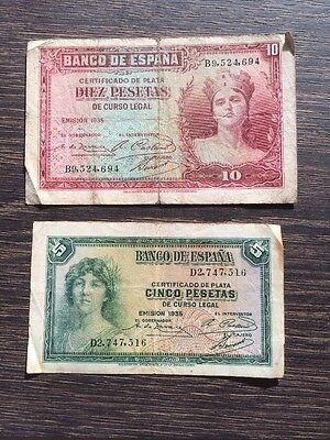 Spanish Banknotes 1935 Set Of 2