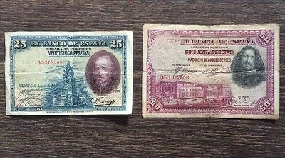 Pair Of Spanish Pesetas Banknotes 1928