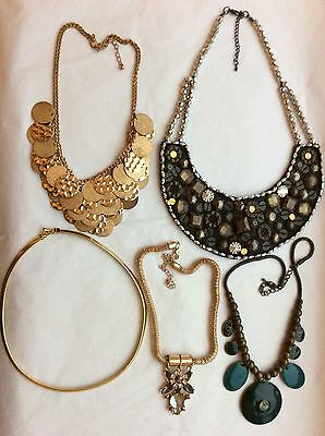 Job Lot Costume Jewellery 5 Assorted Necklaces 12c