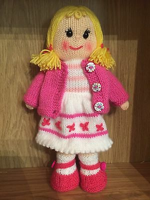hand knitted soft toy doll Easter gift room display