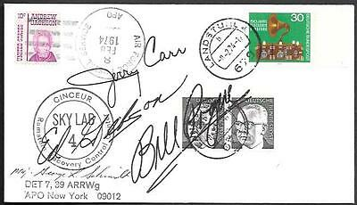 """US Crew Signed Space Cover 1974. """"Skylab 4"""" Splashdown. Carr Gibson Pogue"""
