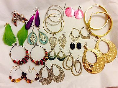 Job Lot Costume Jewellery Mix 17 Pairs Of Large Earrings. Pierced. 407b