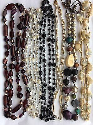 Job Lot Costume Jewellery 6 Assorted Long Bead Necklaces. 142c