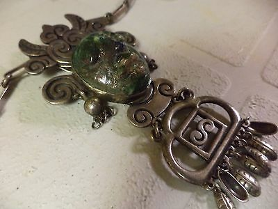 """Vintage Giant Mexico Sterling Silver 4"""" Pendant Sch 149 Hecho En Taxco Necklace"""