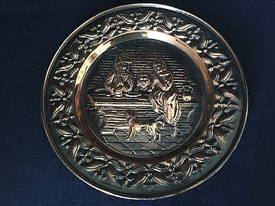 """Vintage Brass Wall Hanging Plate Family Scene 11 3/4"""""""