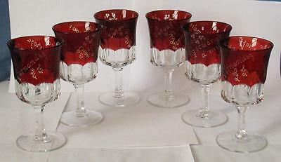 """EAPG CLEAR with RUBY STAIN """"BLOCKED THUMBPRINT"""" set of (6) FTD. GOBLETS"""
