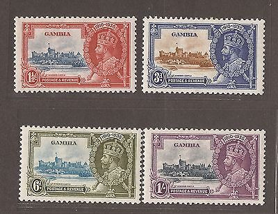 1935 Gambia Jubilee Stamp Set - Mlh - Error On 1.5D Castle Scene Printed To Left