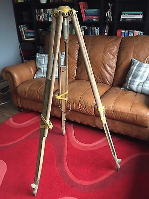 Antique/Vintage Surveyors Wood Tripod Ideal For Industrial Lamp Base Conversion