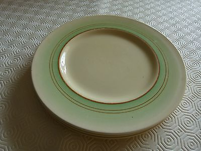 Clarice Cliff green banded 9 ins dessert plates x 4