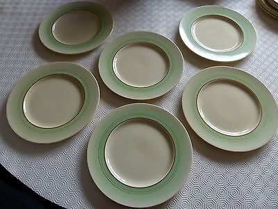 Clarice Cliff green banded 10 ins dinner plates x 6