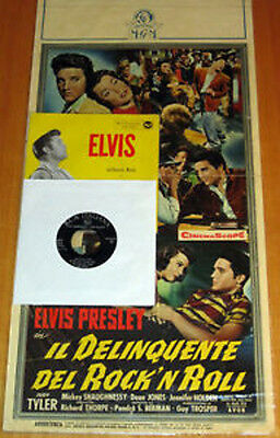 "Elvis ITALY only ""JAILHOUSE ROCK"" movie poster locandina 1st edit. 1958 w/ 45rpm"