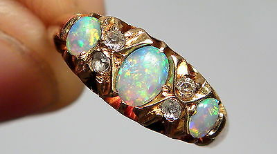 Antique Edwardian Natural Opal & Diamond 18ct Gold Ring Chester