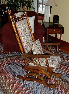 Antique Victorian  Carved  PLATFORM GLIDER Rocker Rocking Chair
