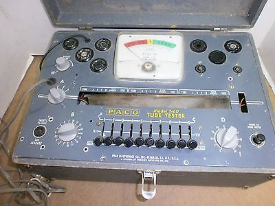 Vintage paco model t-60 tube tester for parts or restoration only never tried