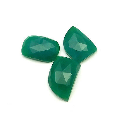 22.30 cts Natural Green Onyx Fancy Shape Single Side Faceted Gemstone 3 pc lot