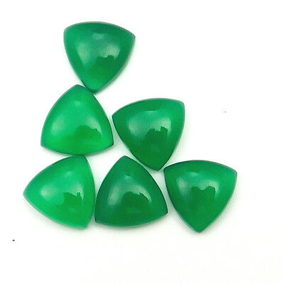 50 cts Natural Green Onyx Gemstone Trillion Shape Loose Cabochon 6 pc lot 15 mm