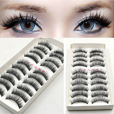 10 Pares /Set Negro Natural Falsas Pestañas postizas Maquillaje latigazos