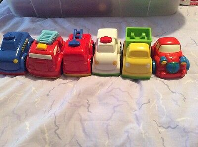 6 Chunky Vehicles. Cars, Emergency, Police, Fire Engine, Ambulance, Digger.