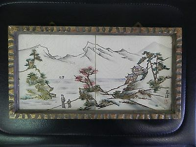 Vintage Japanese 2 Piece Ceramic Tile Wall Plaque Decor Framed Hallmarked Japan