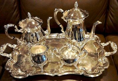 Silver Plated Tea/Coffee Set on Butlers Tray