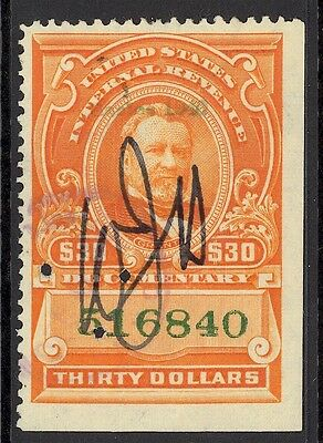 US REVENUE-DOCUMENTARY, USED, R282, Staple Holes, GREAT COLOR, INTERESTING