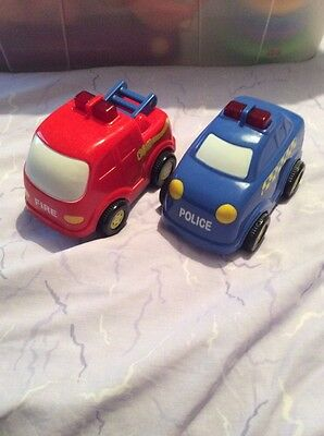 2 Chunky Toy Cars. Pull Back. Emergency Vehicles. Fire Engine. Police Car. Sound