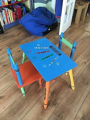 Colourful kids play table and two chairs, children's room, playroom