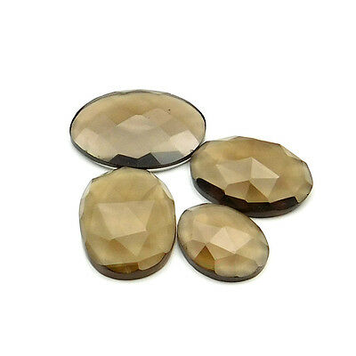 22.55 cts Natural Smoky Quartz Fancy Shape Single Side Faceted Gemstone 4 pc lot