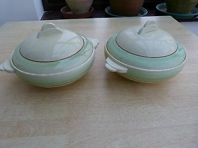 2 Clarice Cliff green banded serving bowls