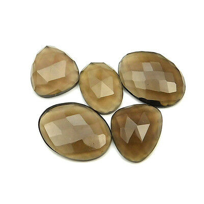 31.40 cts Natural Smoky Quartz Fancy Shape Single Side Faceted Gemstone 5 pc lot