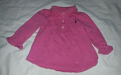 Baby Girl Size 9 Months Ralph Lauren Dark Pink Long Sleeve Collar Ruffle Shirt