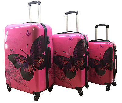Hard Shell 4Wheel Suitcase PC Luggage Trolley Case Cabin Hand Butterfly Rose