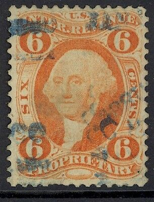 Us Revenue-1St Issue, Used, R31C, 6¢ Proprietary, Perf.couple Thins, Very Scarce