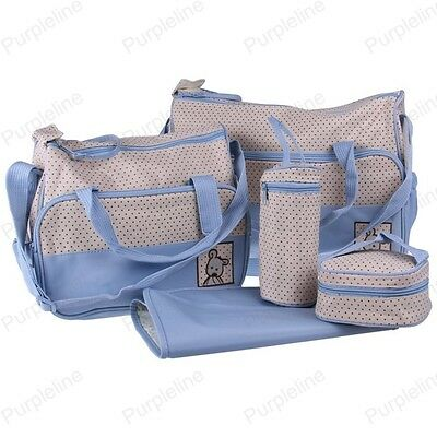 More Function Baby Diaper Nappy Changing Bag Mummy Tote Shoulder Handbag Blue