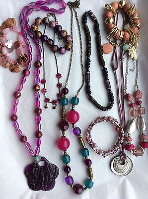 Job Lot Costume Jewellery Mix 10 Assorted Necklaces & Bracelets. 320b