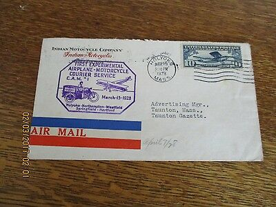 1928  March 15 Air Mail Indian Motorcycle Co. Experimental Courier Service Mass