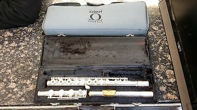 Selmer USA Omega Sterling Silver Open Hole Flute Gold Mouthpiece with Case