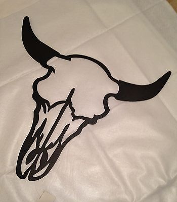 New! Mancave Country Black Metal Cut-Out Texas Longhorn Wall Art Hanging Plaque