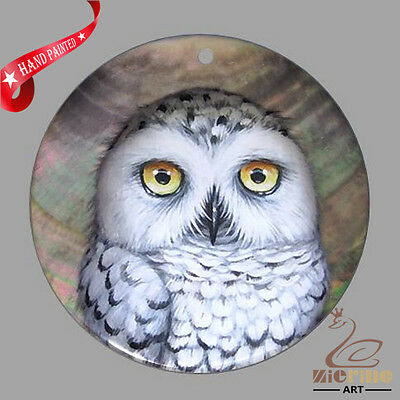 Jewelry Necklace Hand Painted  Owl Bird Shell Pendant Zp3000281