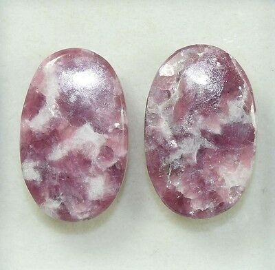 Pair  31.00  Cts. 100 % Natural Lepidolite Untreated  Oval Cab Loose Gemstones