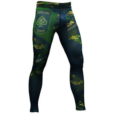 Compression Pants Absolute Weapon Camo Green MMA BJJ Fitness Mixed Martial Arts