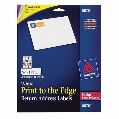 Avery 6870 White laser labels for color printing, 3/4x2-1/4 label, 750 lab...NEW