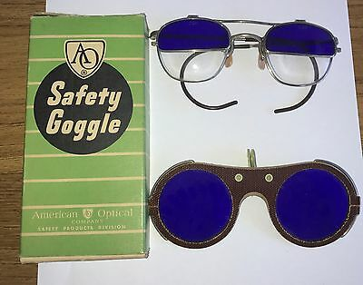 Vintage American Optical Safety Goggles Glasses Blue W/ Box & Shades Estate