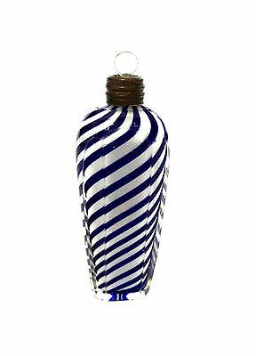 FRENCH Early Cased Blue Swirl Twirl Twist Blown Glass Perfume Bottle 1900's