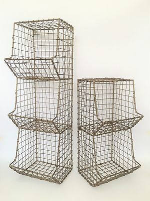 Antique Brass Colour Metal Wire Storage Rack Industrial Look Mesh Wall Holder