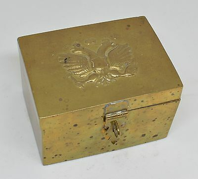 Antique Russian Imperial Eagle Brass Tea Caddy Box ~ 3'' x 4'' x 2.5'' ~