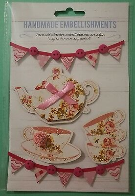 Handmade Self Adhesive Craft Embellishments Card making Tea Cups Teapot Banners