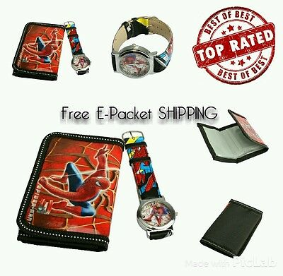 Kids Boys Cartoon Spiderman Character Wallet,Coin Purse & Watch SET KIDS GIFT