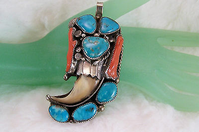 Ben Yazzie, Navajo, Pawn Big Traditional Pendant, Turquoise, Coral & Badger Claw