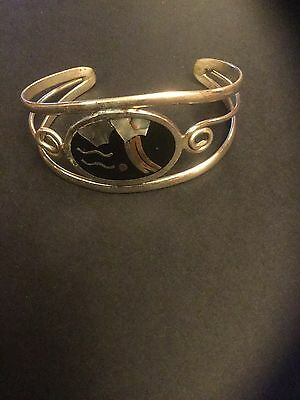 bangle cuff bracelet alpaca mexico mother of pearl vintage  Ethnic Tribal Lovely